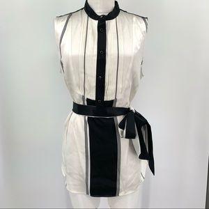 Collection J. Crew Black Cream Silk Tuxedo Blouse